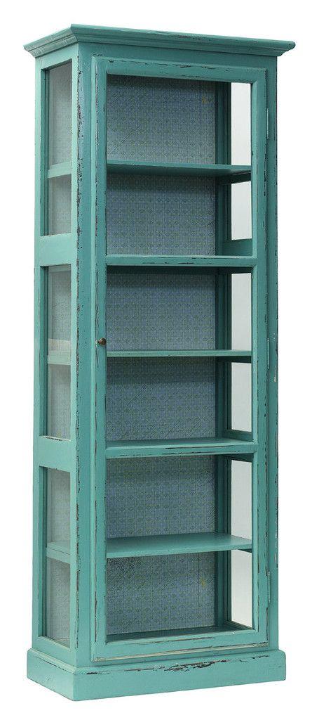 Armario vitrina de madera turquesa – Miv Interiores