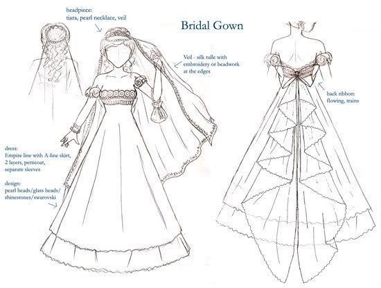 This is a real honest-to-god replica of the Sailor Moon Princess dress that a couple from  the Philippines did for their wedding.   I can't find the blog post anymore, but it was about 2011 that I first discovered it. They hand sketched all of the designs, including this dress as the bride wore it.