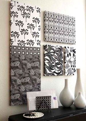 use fabric remnants in cordinating over to create super cheap fabric wall wall artfabric - Cheap Canvas Wall Art