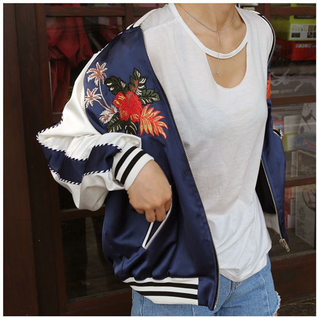 >> Click to Buy << Cool floral embroidery bomber jacket Summer stain women jacket coat Casual sukajan basic baseball souvenir jackets veste H9407 #Affiliate