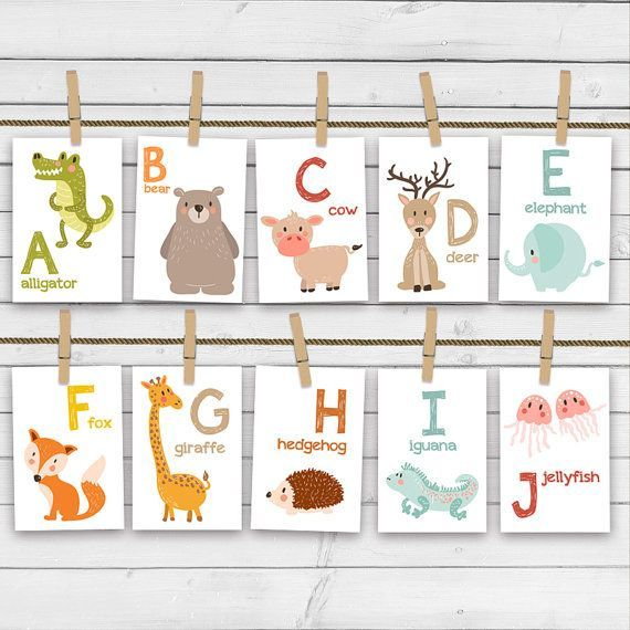 ♥ Cheerful alphabet animal flash cards, full with handdrawn animals. Not only colorful and fun but also educational. A great way to learn words