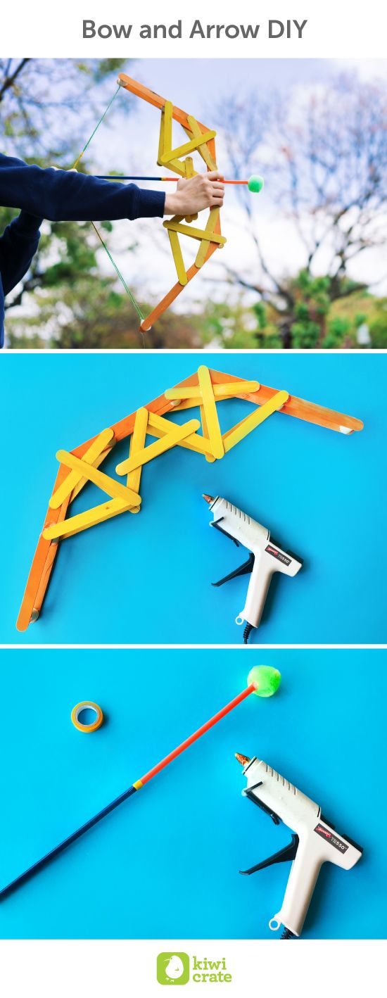 Bow and Arrow DIY. Summer's around the corner and this is a great project for outdoor play and experimentation. We had so much fun making this project! It's amazing how a few household craft items can be transformed into a bow and arrow. I loved experimenting with the arrows to see how far and fast they could fly! outdoor, for summer, summer boredom, fun, ideas, activities, for kids, cool, quick, easy, wood, home.