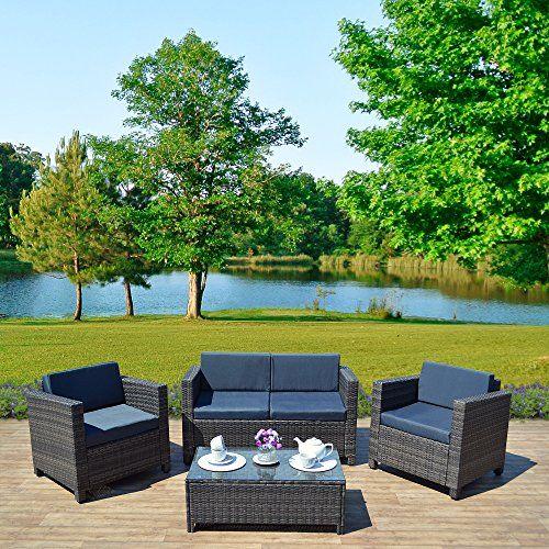 New 4 piece Grey, Light Brown Roma Rattan Garden Furniture Sofa set with  Coffee Table