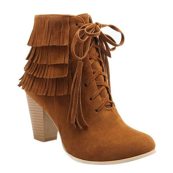 Trendy Tie Up and Tassels Design Ankle Boots For Women #CLICK! #clothing, #shoes, #jewelry, #women, #men