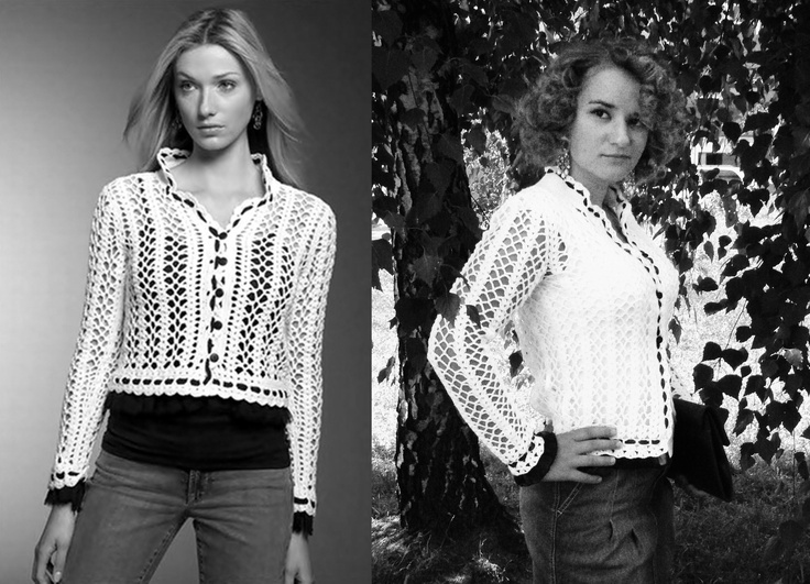 White crochet sweater with black edges inspired by Chanel.