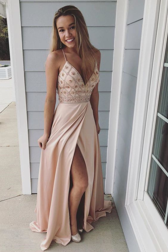 2b07d366a9 A-Line Spaghetti Straps Pink Elastic Satin Prom Dress with Beading ...