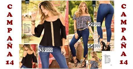 El Catalogo de Carmel Campaña 14 2017 contiene variedad de: Blusas de chalis, Jeans, Chaqueta, Short, Vestidos, hasta ropa en oferta