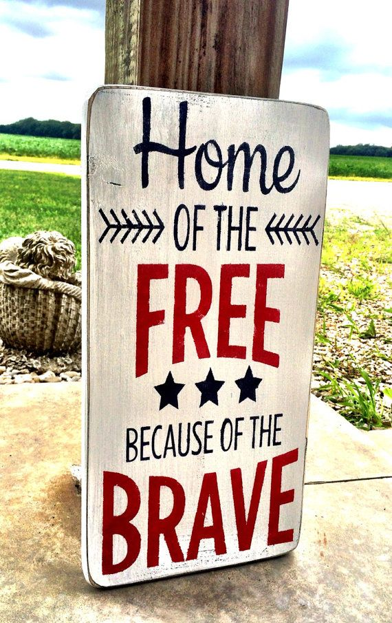 Independence Day Decor Home of the Free Because by CharmingWillows