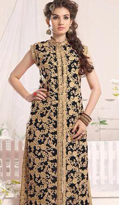 Latest Bollywood Black Georgette A Line Suit, Dress