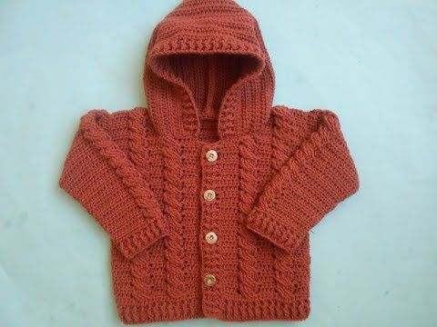 Crochet - Crosia Free Patttern with Video Tutorials: how to make Baby Crochet Cabled  Cardigan Sweater