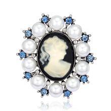 Mode Antieke Vintage Imitatie Parel Broche Pins Vrouwelijke Merk Sieraden Koningin Cameo Broches Rhinestone Voor Vrouwen Gift PWBR003(China (Mainland))