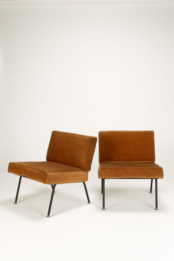 Alain Richard; Enameled Metal Lounge Chairs For Steiner, 1950s.