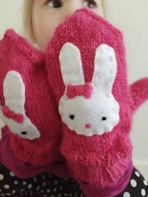 Knitted Miffy-mittens.