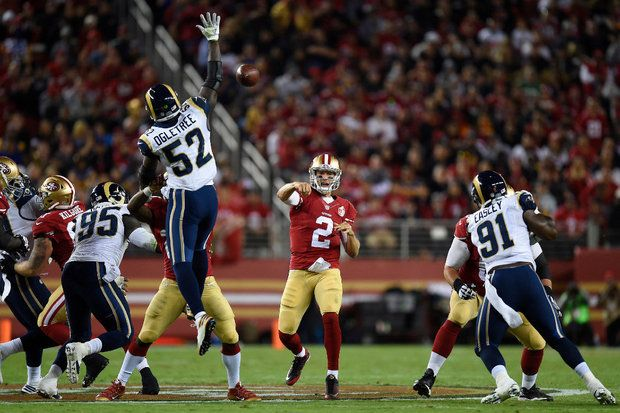 San Francisco quarterback Blaine Gabbert was efficient in the 49ers win against the Los Angeles Rams in Week 1. He'll need to be better when the 49ers play at defending NFC champion Carolina on Sunday. (Marcio Jose Sanchez/Associated Press)