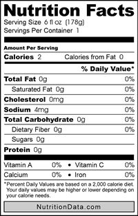keurig kcup nutritional label