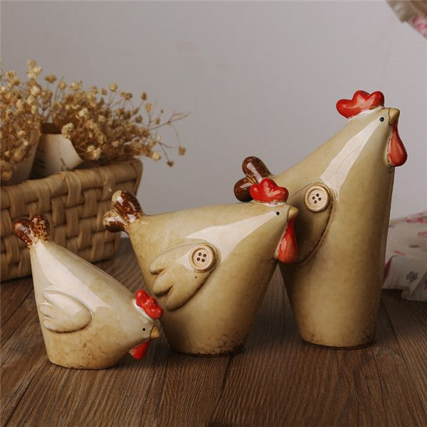 3pcs/set Home decor pottery crafts button cute sweet ceramic hens roasters chickens Figurine china porcelain figurines handmade