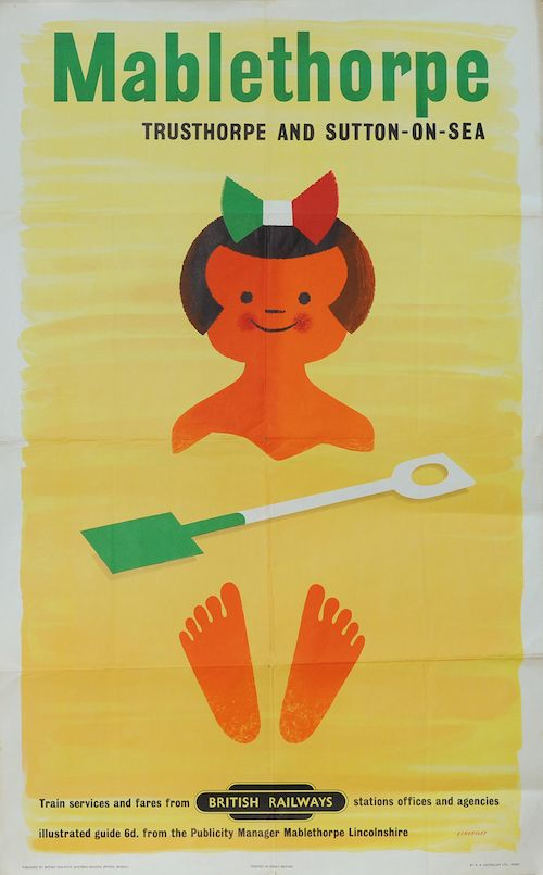 Poster - 'Mablethorpe - Trusthorpe and Sutton On Sea' by Tom Eckersley (1959) double royal 25in x 40in. Depicts a smiling cartoon girl half buried in the sand. Published by British Railways Eastern Region