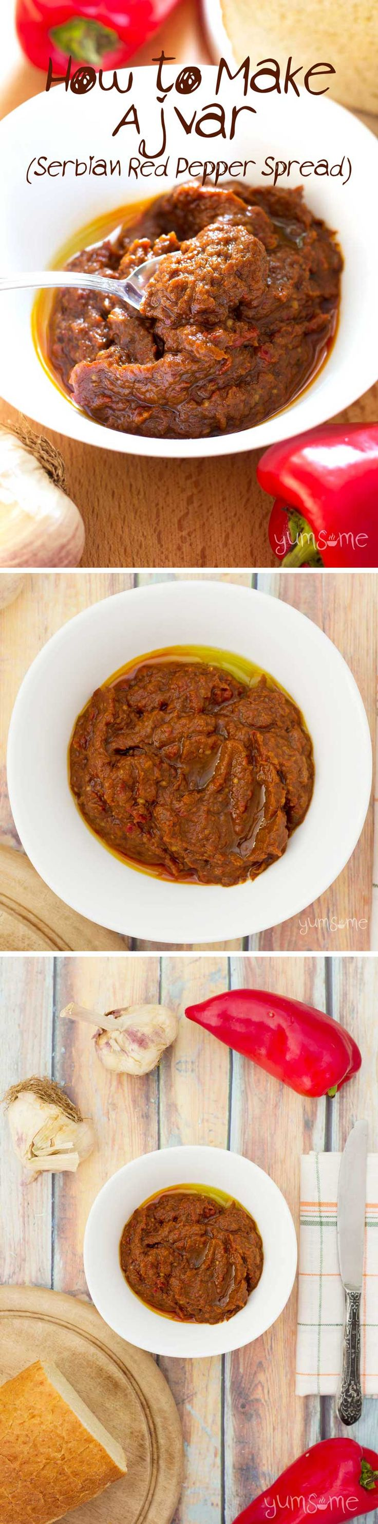 A staple of Balkan cuisine, ajvar is a delicious rich red pepper relish that's perfect with fresh rustic bread, pasta, crackers, baked potatoes, burgers, sausages, etc. | yumsome.com