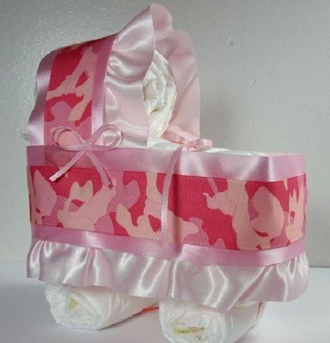 Diaper Cake Bassinet Carriage Baby Shower Gift for Girls - Pink Camo/Camouflage #Handmade #Sprinkle #BabyShower #Baby #Shower #SALE #IDEAS #DIY #Gifts #Cute #Crafts #BabySprinkle #Etsy #eBay  #LittleHomeMades #JCsBabyShowerGifts