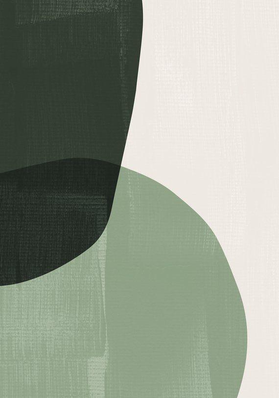 Dark Green Mid Century Modern Art Prints. Abstract Art. Light Green Modern Wall Art. Scandinavian Decor. Olive Geometric Art. Minimalist Art