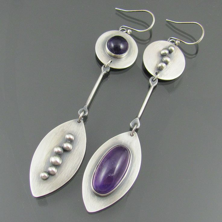 NIKKI, SILVER AND amethyst long earrings