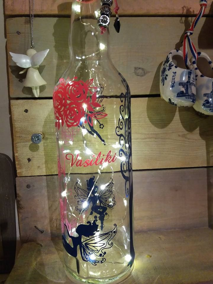 fairies & roses bottle lamp