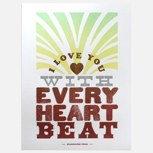 Every Heartbeat White now featured on Fab.: Letterpresses Prints, Antiques Metals, Heart Beati, Heartbeat White, Holidays Gifts, Heartbeat Kraft, Beats Letterpresses, Heart Beats, Beats Valentines