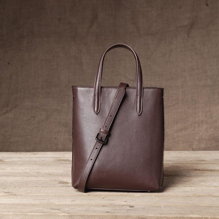 Monaco Mini Shopper - Back View #Mini #Shopper #Handbag #Cinnamon #Black #Leather #Calfhair #FW15
