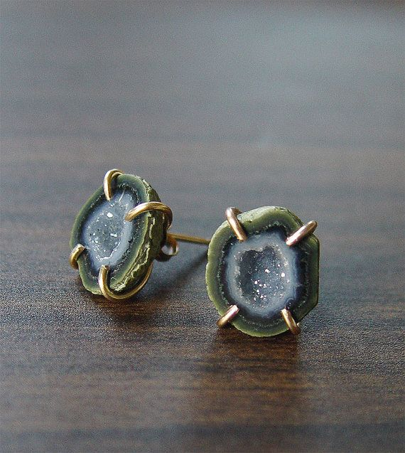 SALE Green Geode Stud Earrings Gold Filled Ooak by friedasophie