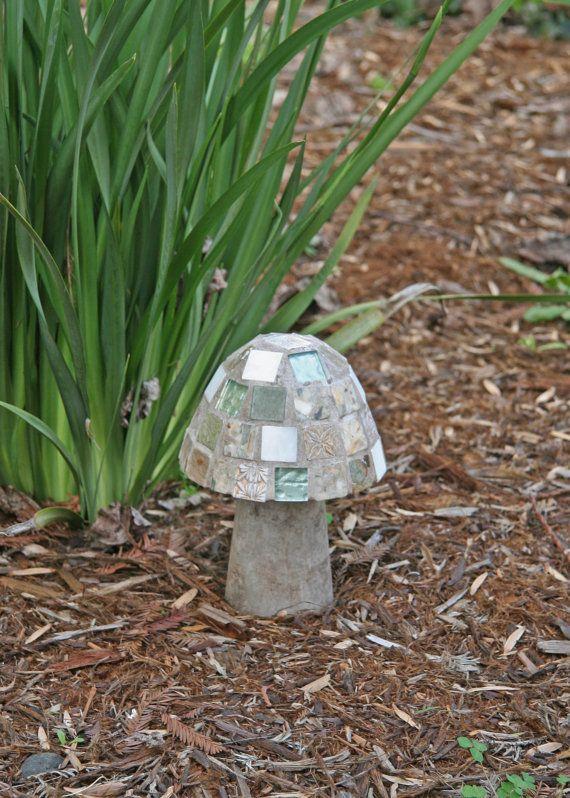 """Garden Mushroom 8 1/2"""" Green and White Mosaic"""