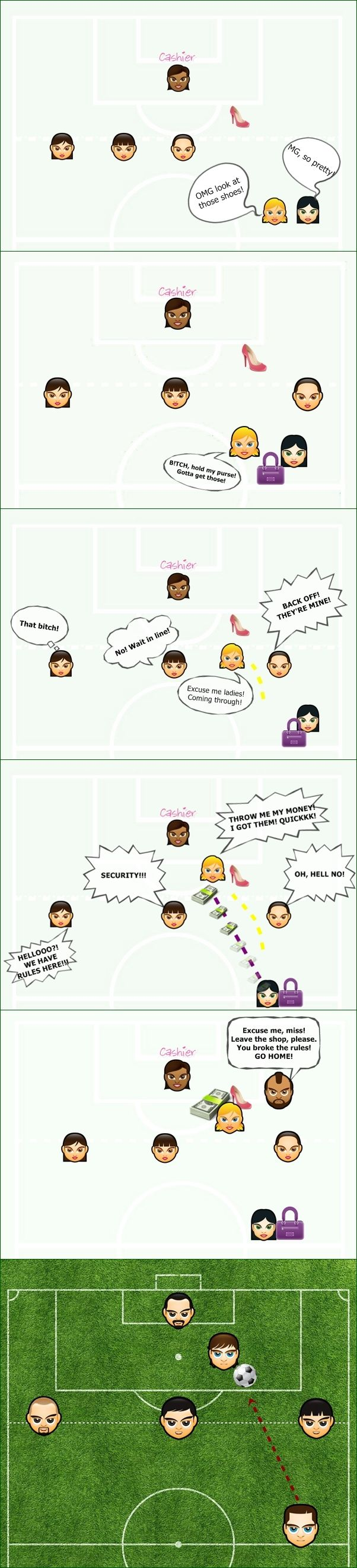 "Soccer rule for girls :D  ""You watch football?! You don't even know what offside is!""  ""Hell yes i know!"" :D   tadaaaa! You're welcome xD #football #funny #rule #offside #soccer #meme #quote"