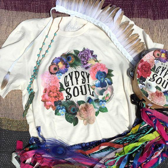 Gypsy Shirt, Gypsy Soul, MEDIUM, Boho Chic, Boho Clothing, Boho Gypsy, Bohemian Clothing