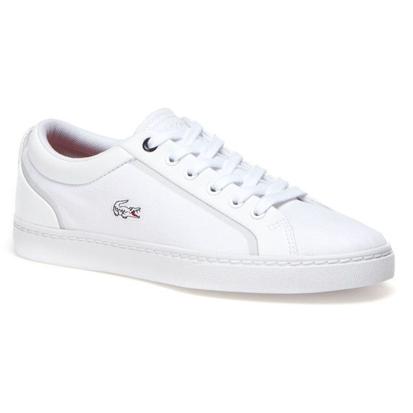 Lacoste Women`s Lenglen Low-rise Canvas Sneakers (£70) ❤ liked on Polyvore featuring shoes, sneakers, lacoste sneakers, plimsoll sneakers, canvas tennis shoes, canvas shoes and tenny shoes