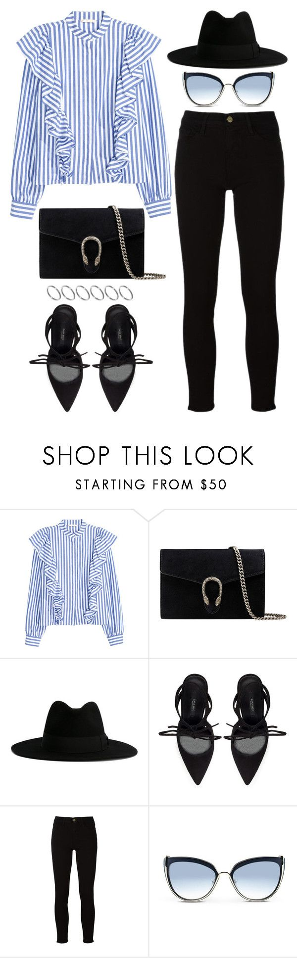 """924"" by dasha-volodina ❤ liked on Polyvore featuring Gucci, Yves Saint Laurent, Zara, Frame, Karl Lagerfeld and ASOS"