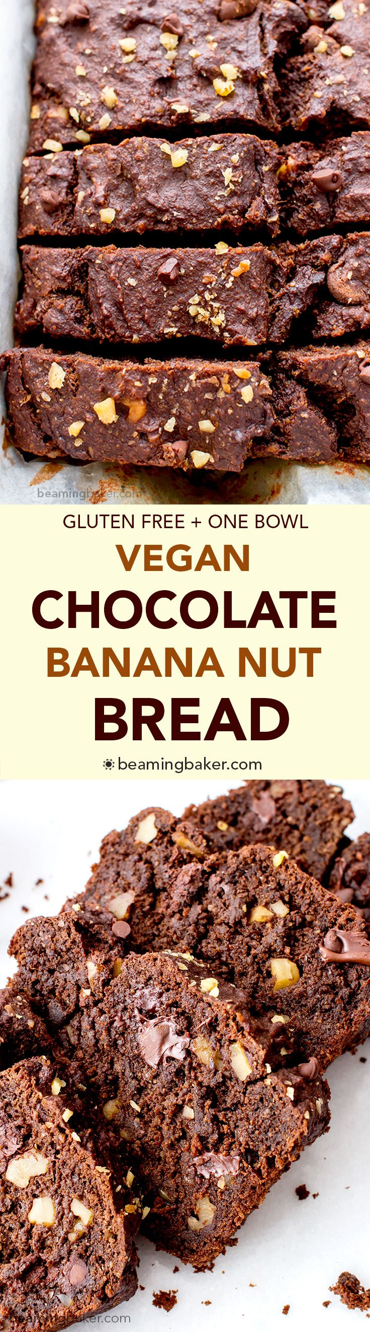 Vegan Chocolate Banana Nut Bread (V+GF): A one bowl recipe for rich, moist and chocolatey banana bread with walnuts. #Vegan #GlutenFree | BeamingBaker.com