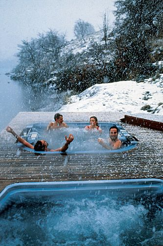 Where do we want to be right now? Here: Outdoor hot tubs at Hotel Salto Chico, Patagonia, Chile