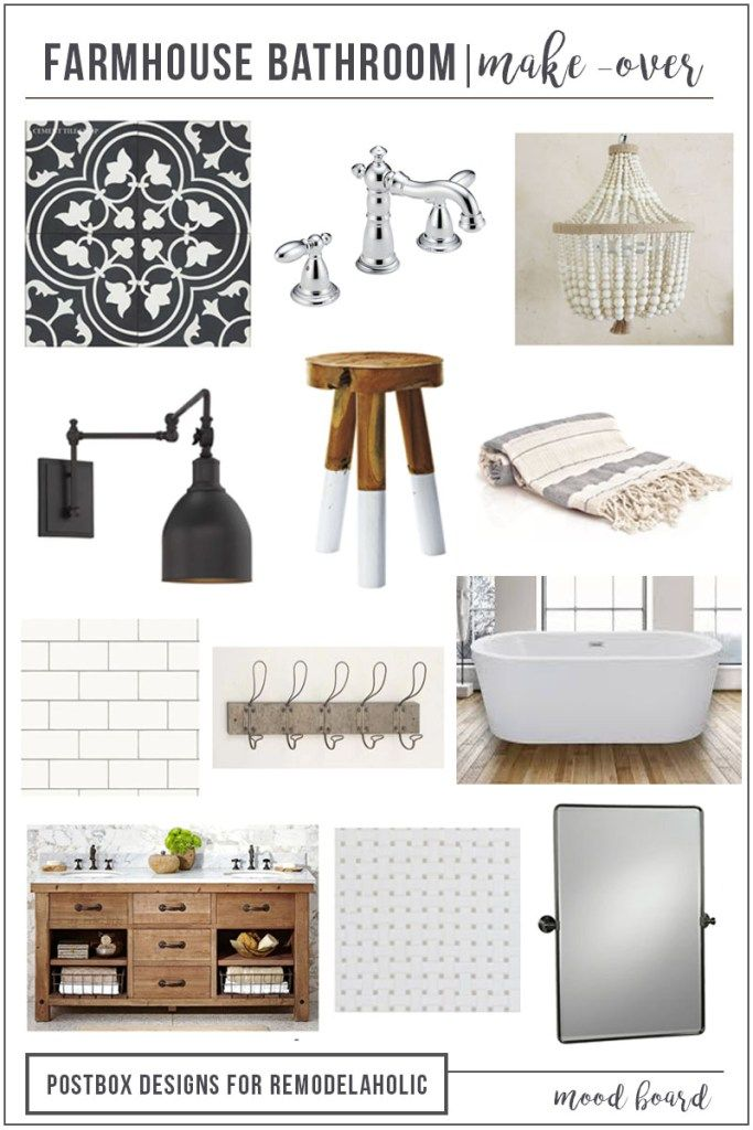 Farmhouse Bathroom by Postbox Designs E-Design, fixer upper bathroom, bathroom makeover, bathroom mood board