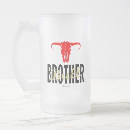 Brother Bull by VIMAGO Frosted Glass Beer Mug - Xmas ChristmasEve Christmas Eve Christmas merry xmas family kids gifts holidays Santa