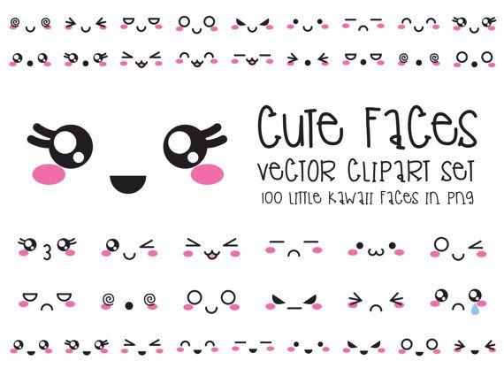 Premium Vector Clipart - Kawaii enfrenta a imágenes prediseñadas de Kawaii - rostros lindo conjunto gráfico - vectores de alta calidad - descarga inmediata-