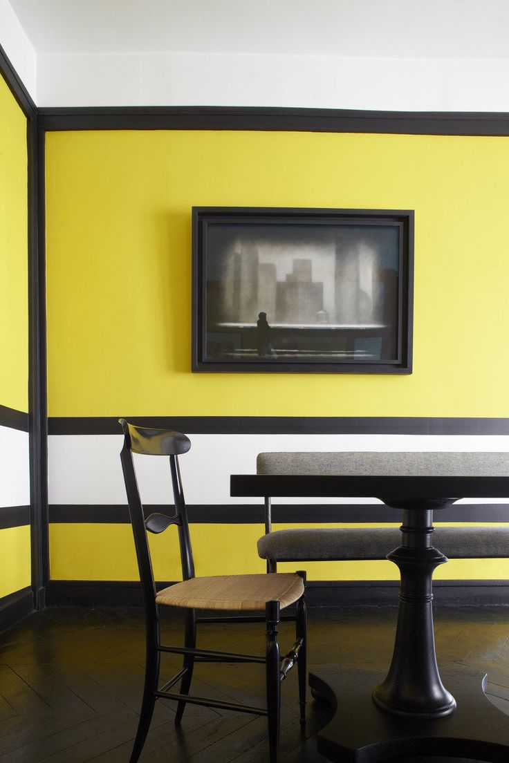Not the color, but love the color blocking for the dining area.