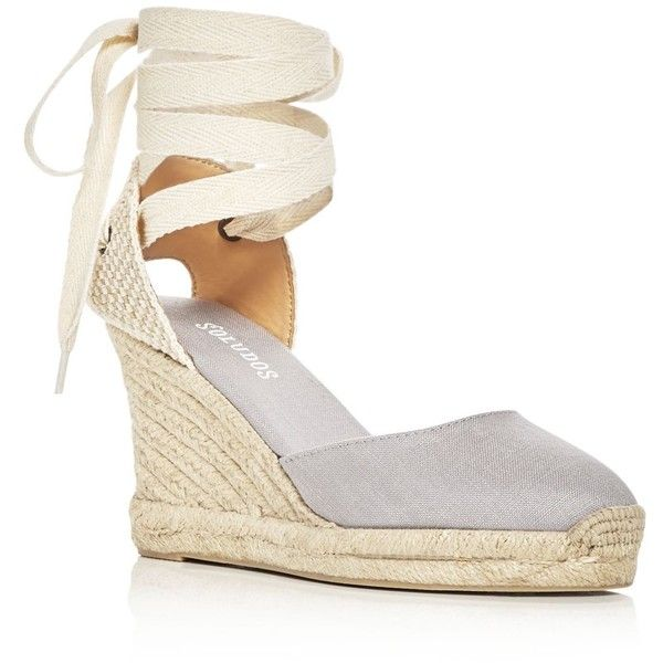 Soludos Women's Lace Up Espadrille Wedge Sandals ($95) ❤ liked on Polyvore featuring shoes, sandals, grey, lace up espadrilles, wedges shoes, gray wedge sandals, soludos sandals and grey sandals