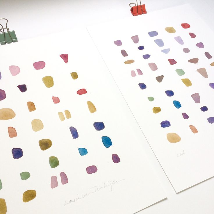 Set of 2 watercolor prints. Minimal, colorful abstract paintings.