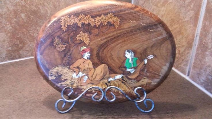 For Sale: VINTAGE MIDCENTURY IVORY  ON WOOD PLAQUE - Two Seated Lovers with Music, Wine, and Poetry