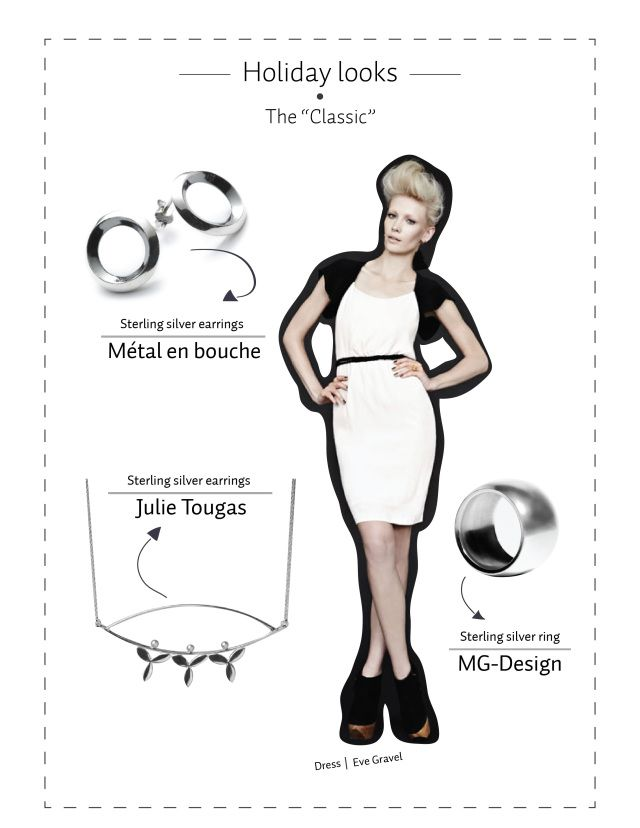 Métal en Bouche circular earrings, Big silver ring by MG Design and flower silver necklace by Julie Tougas