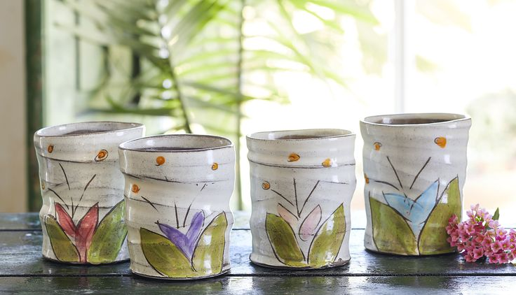 Sentiment Bloom Be Cups - Handpainted cups made with artfully asymmetrical, glazed clay.