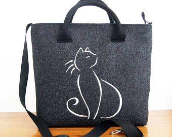 BOLSO del ordenador portátil - bolso, fieltro bolso de totalizador, bolso de las mujeres sentía, gato negro - bolso de fieltro - 13 pulgadas bolso del ordenador portátil - fieltro bolso - bolso de fieltro