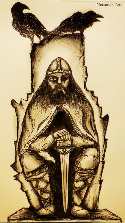 Happy Wednesday!!!! (Glædelig Onsdag!!!!) Odin - Sketch by Norseman Arts.