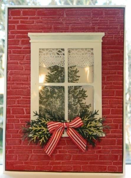 SU Christmas Lodge, Spellbinders M-bossibilities brick E F, Madison WIndow die, McGill fern punch or MS pine Branch punch