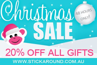 Take 20% off all Christmas Gifts in our Stick Around store, just in time for Xmas. Fast postage, all items held in stock, genuine products, quality service.  Happy shopping this Xmas....