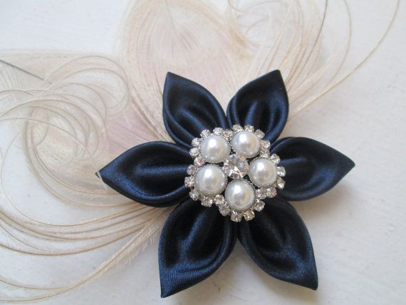 Navy Blue Wedding Fascinator, Navy & Ivory Peacock Hair Clip, Something Blue, Bridal Head Piece, French Veil, Rustic- Country Bride